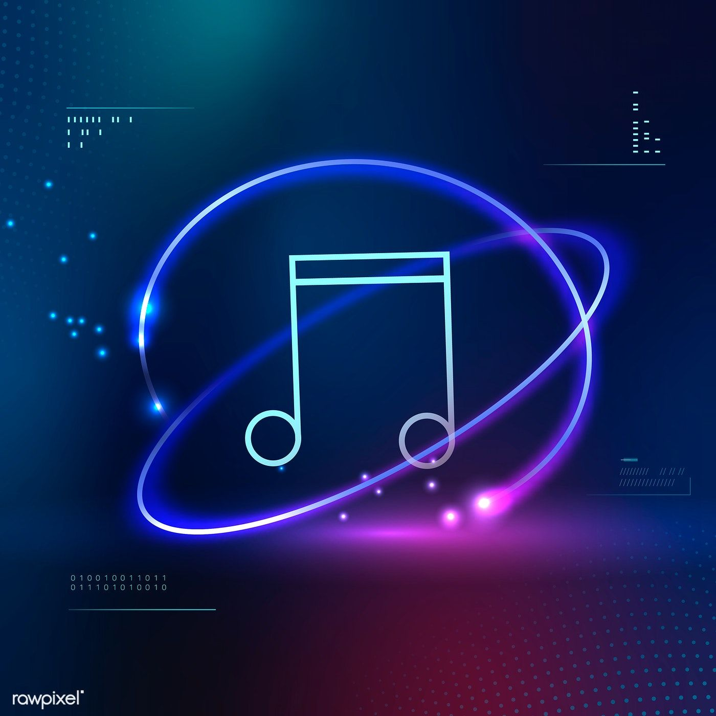 Download premium vector of Music note futuristic icon