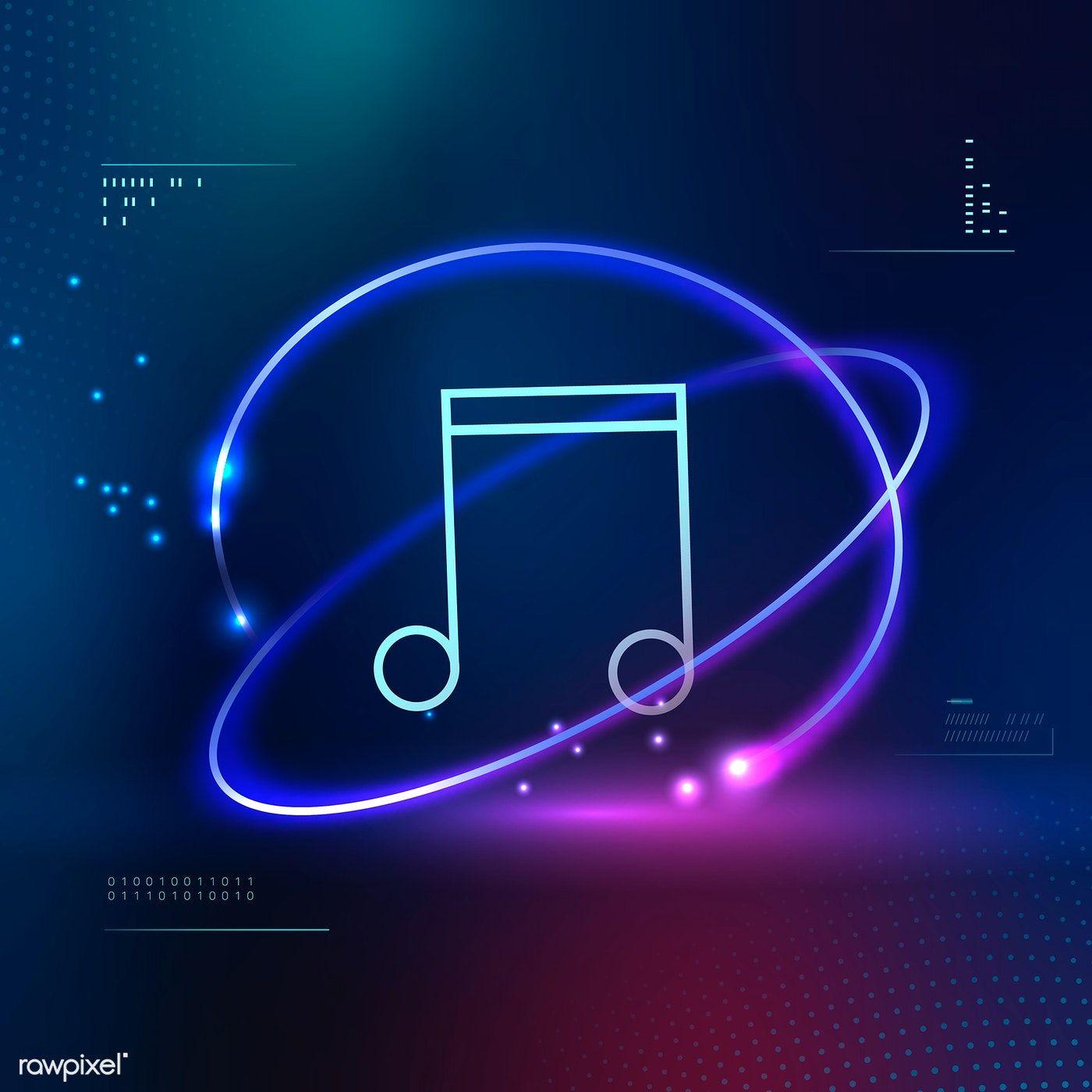 Download Premium Vector Of Music Note Futuristic Icon Vector 1016947 Music Notes Background Music Notes Image Fun