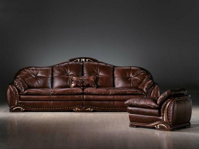 Die Ledercouch - der unbestrittene Hingucker im Wohnzimmer - Wohnzimmer Braunes Sofa