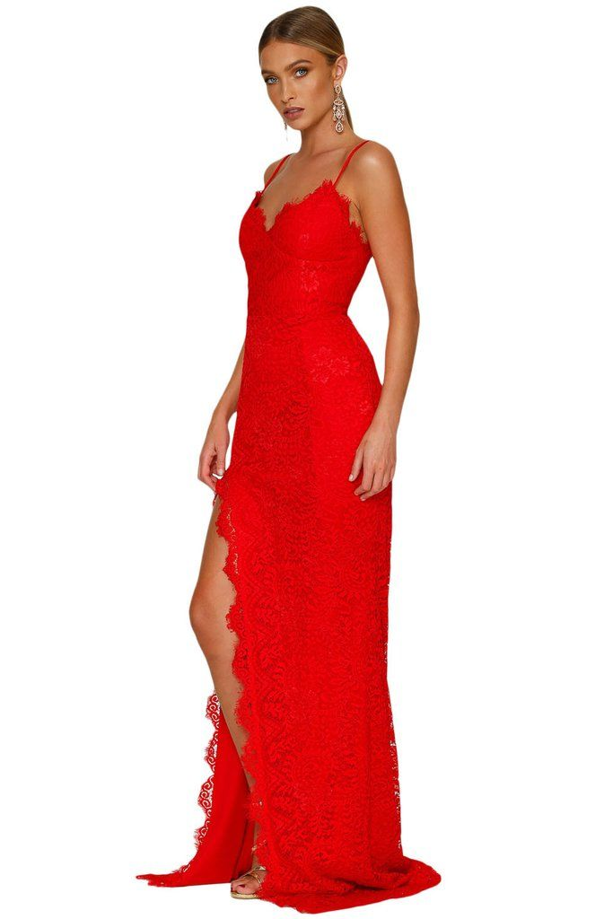 Robe de soiree rouge vif