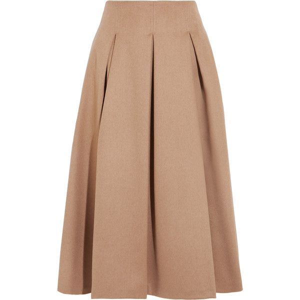 Max Mara Pleated camel hair midi skirt (£460) ❤ liked on Polyvore featuring skirts, a line skirt, beige pleated skirt, maxmara, pleated skirt and knee length a line skirt