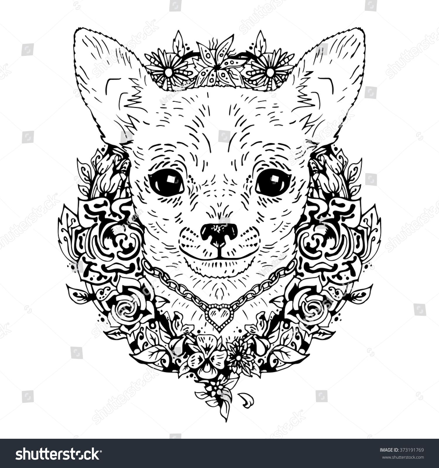 Chihuahua Graphic Dog Abstract Vector Illustration It May Be Used For Design Of A T Shirt Bag Postcard Dog Coloring Page Dog Line Drawing Chihuahua Tattoo [ 1600 x 1500 Pixel ]