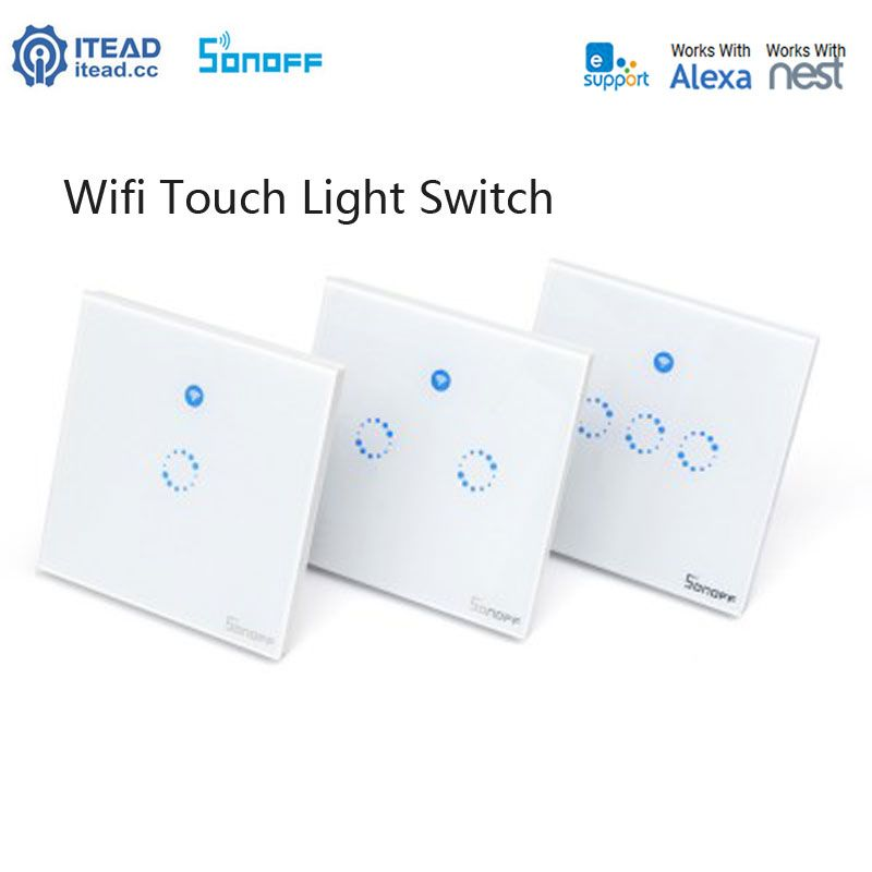 Sonoff Uk Standard 1 2 3 Gang Wireless Control Light Switches Wall Light Touch Switch For Wifi Control Via Smartphon Touch Light Switch Light Switch Smart Wifi