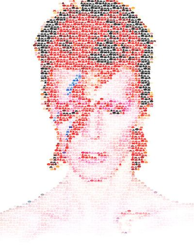Look close. The image is made up of tons of tiny Space Invaders. Gaming + Bowie = BEST THING EVER.