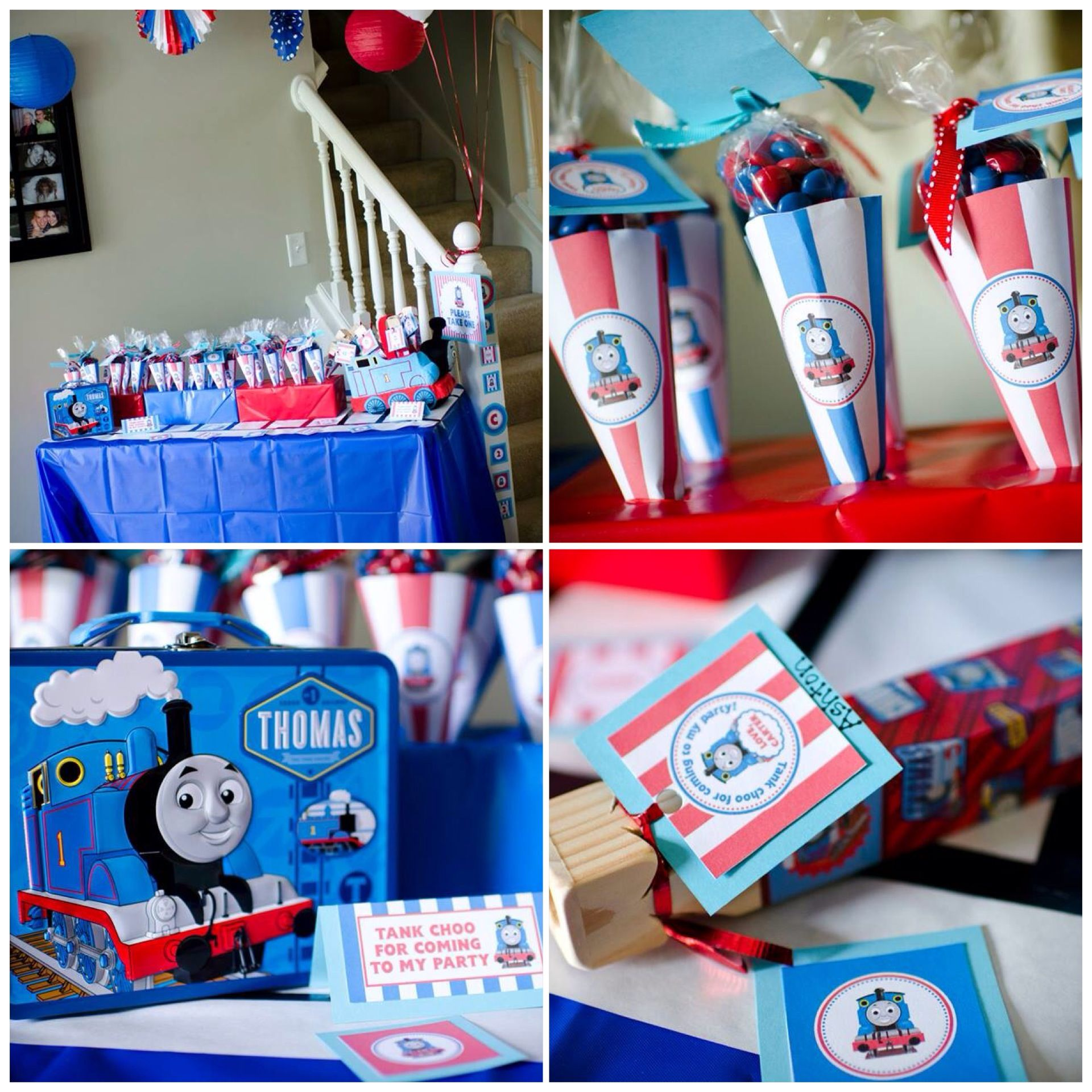 thomas the train birthday party favor cones filled with m m 39 s train whistles for kid favors. Black Bedroom Furniture Sets. Home Design Ideas
