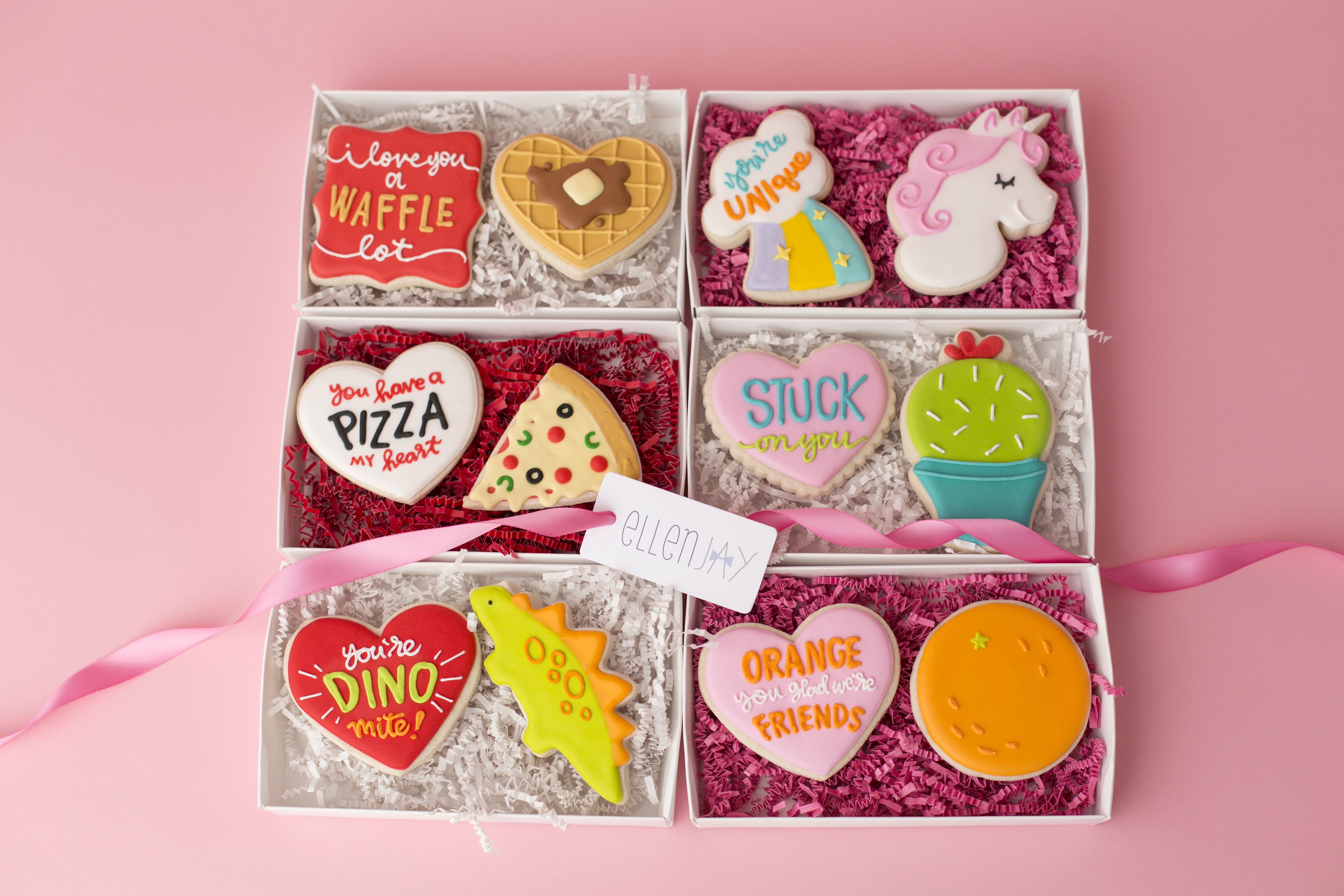 Valentine's Day Iced Sugar Cookie Gift Boxes