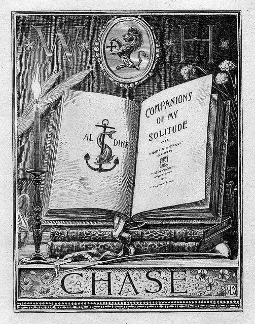 """""""Companions of my Solitude"""" - Bookplate of Chase by Sidney Lawton Smith (1845-1929)"""