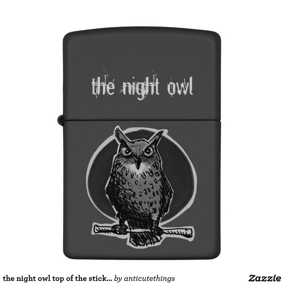 the night owl top of the stick cartoon zippo lighter