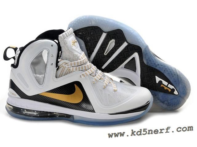 online store 2a4a8 496fc Nike LeBron 9 P.S. Elite Shoes White Black Gold