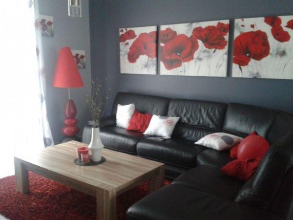 D coration salon gris et rouge recherche google id e d co salon gris living room decor et - Salon mur rouge et gris ...