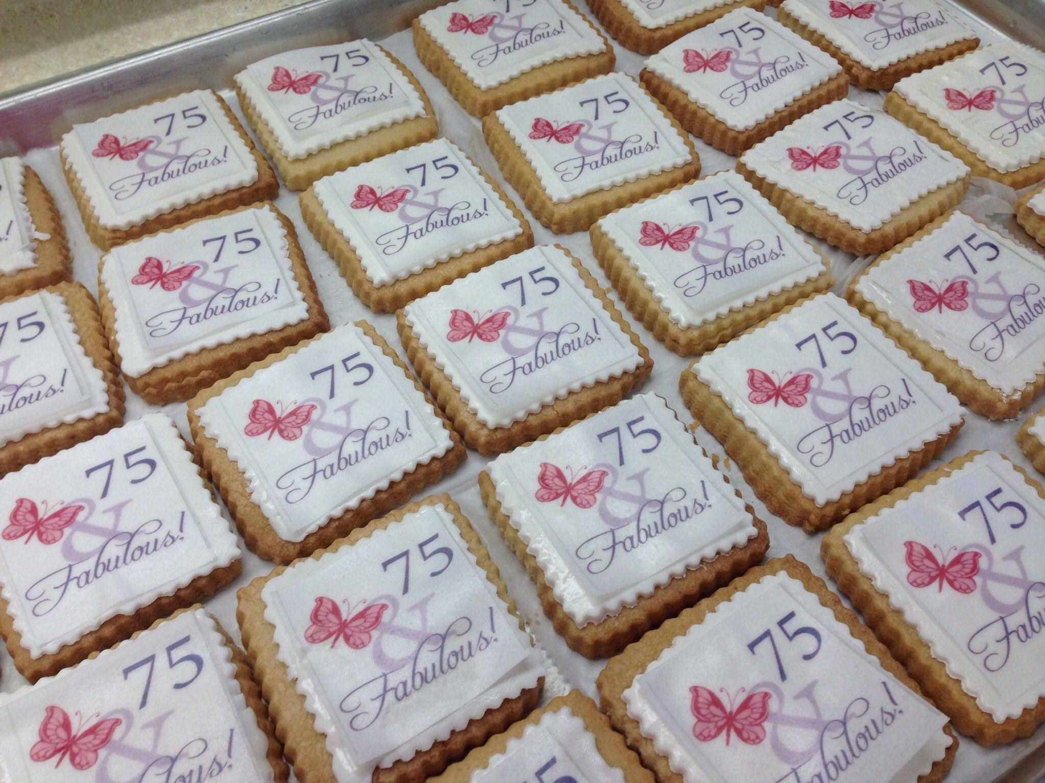 6th Wedding Anniversary Sugar Gifts: 75th Birthday Favor Cookies #cookies #livaygoodies