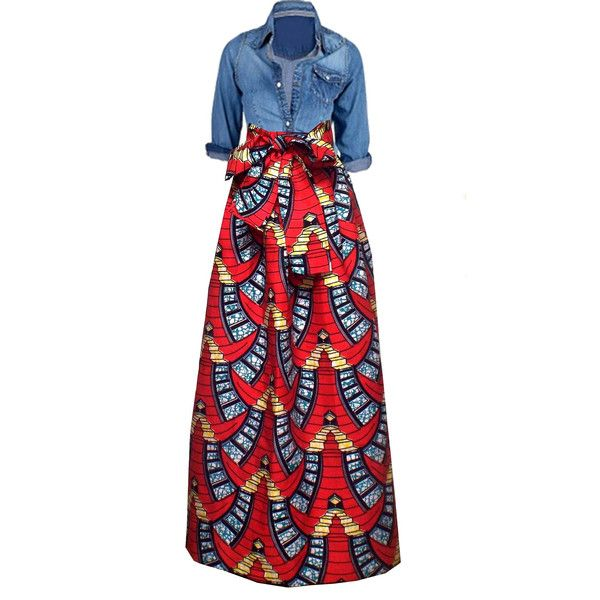 Chic African Print Maxi Skirt (Red/Turquoise Ladder)