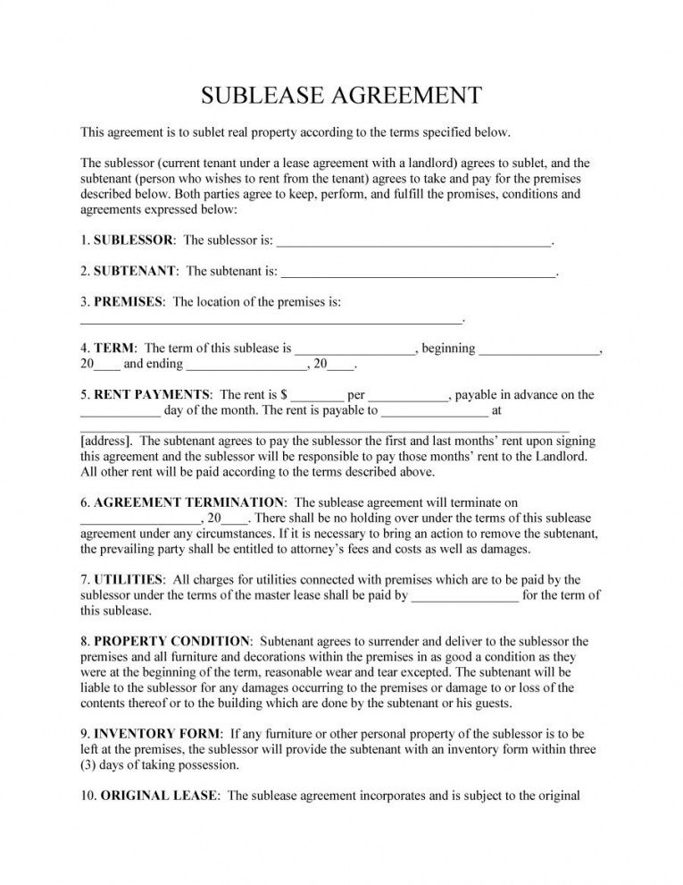 Room Sublease Agreement Template In 2020 Being A Landlord