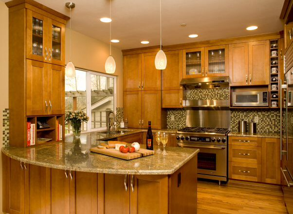 Red Oak Cabinets Granite Countertops Stainless Appliances Grand Delectable Kitchen Designs With Oak Cabinets Design Ideas