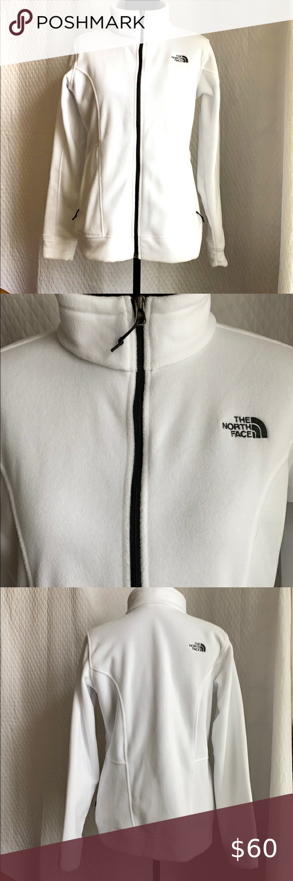 North Face White Jacket With Black Trim Sz L In 2020 White North Face Jacket White Jacket Black Trim [ png ]