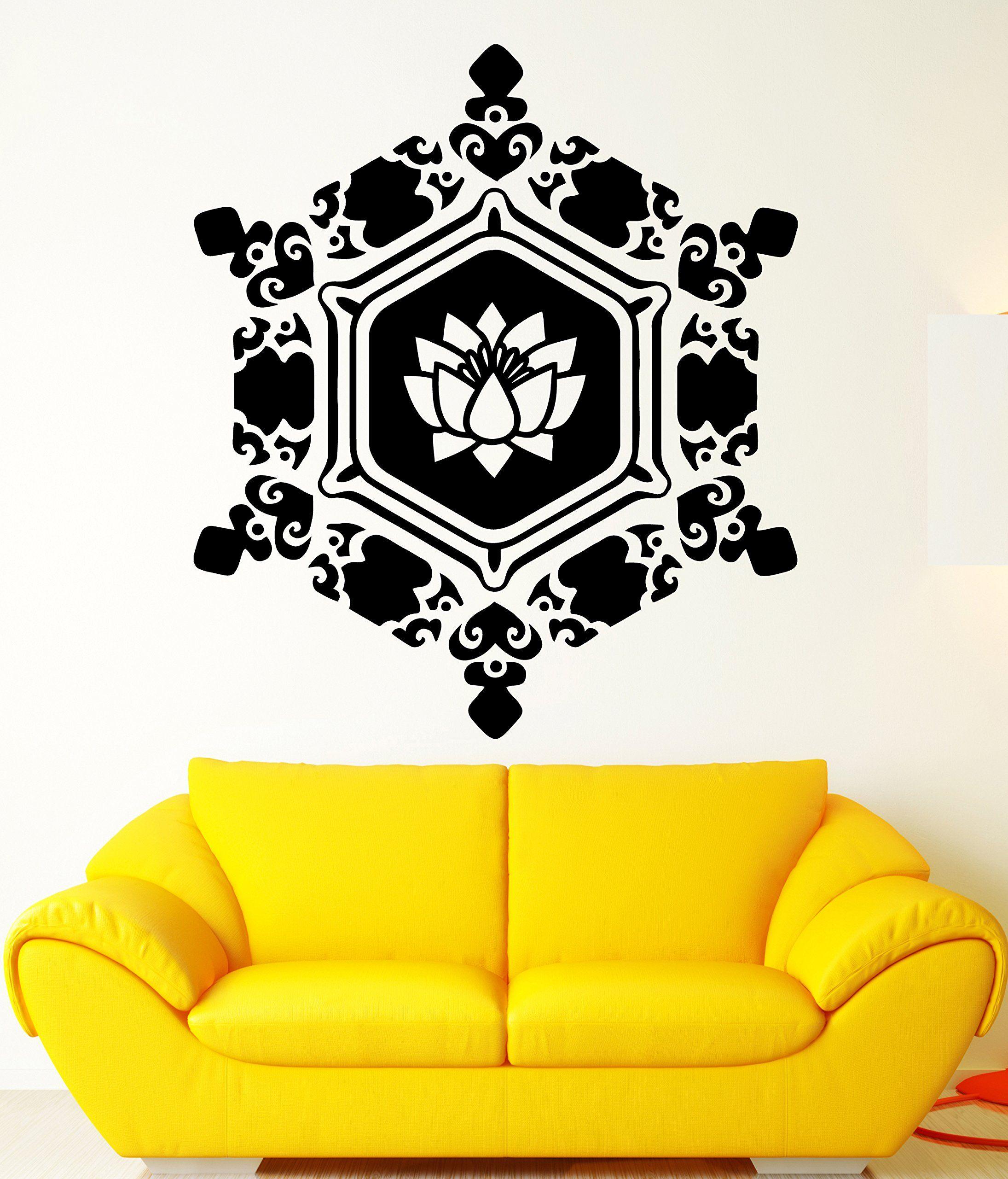 Amazoncom Mandala Wall Stickers Zen Buddhism Om Lotus Vinyl - Zen wall decalsvinyl wall decal yin yang yoga zen meditation bedroom decor