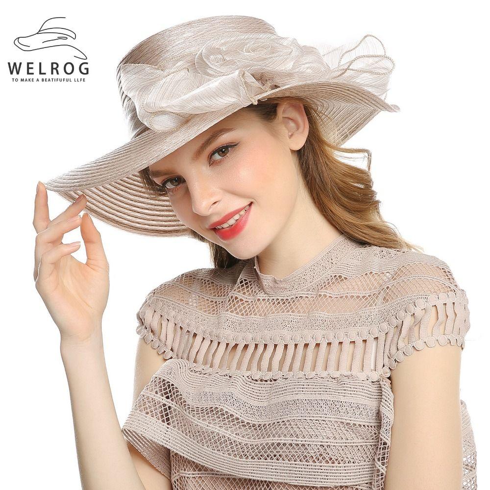 4183cc9c100 Women Bow Floral Sun Protect Hats Church Hats Elegant Lady Khaki Sinamay Hats  Summer Folable Breathable