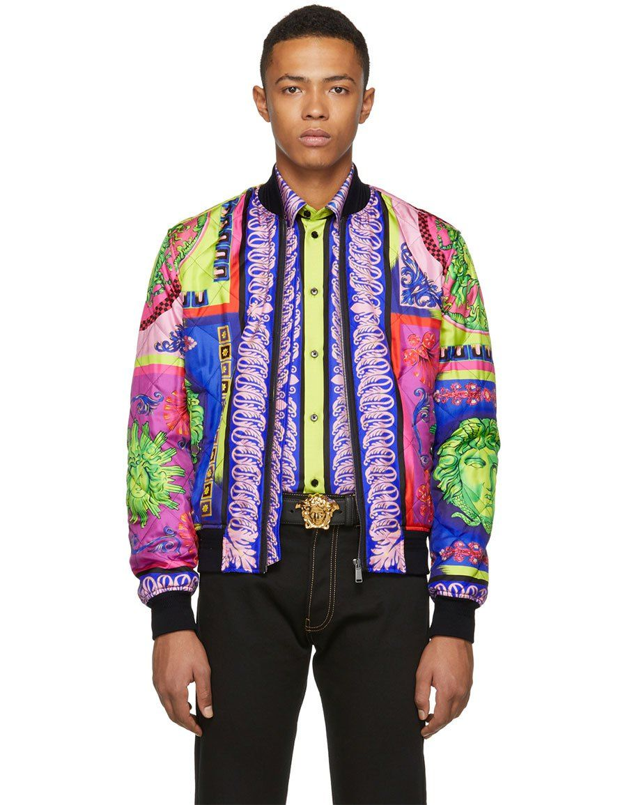 ee97221ab h3>VERSACE</h3> Multicolor Neon Bomber Jacket in 2019 | Men Clothing ...