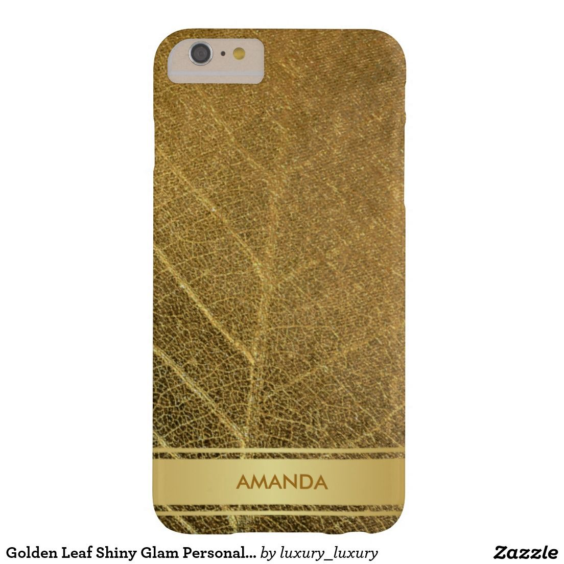 Golden Leaf Shiny Glam Personalized Vip Barely There iPhone 6 Plus Case