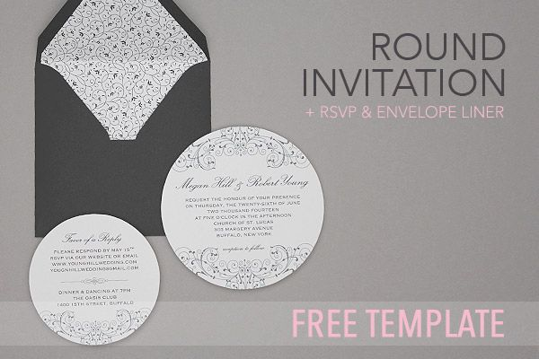 Free Invitation Template Black White Round