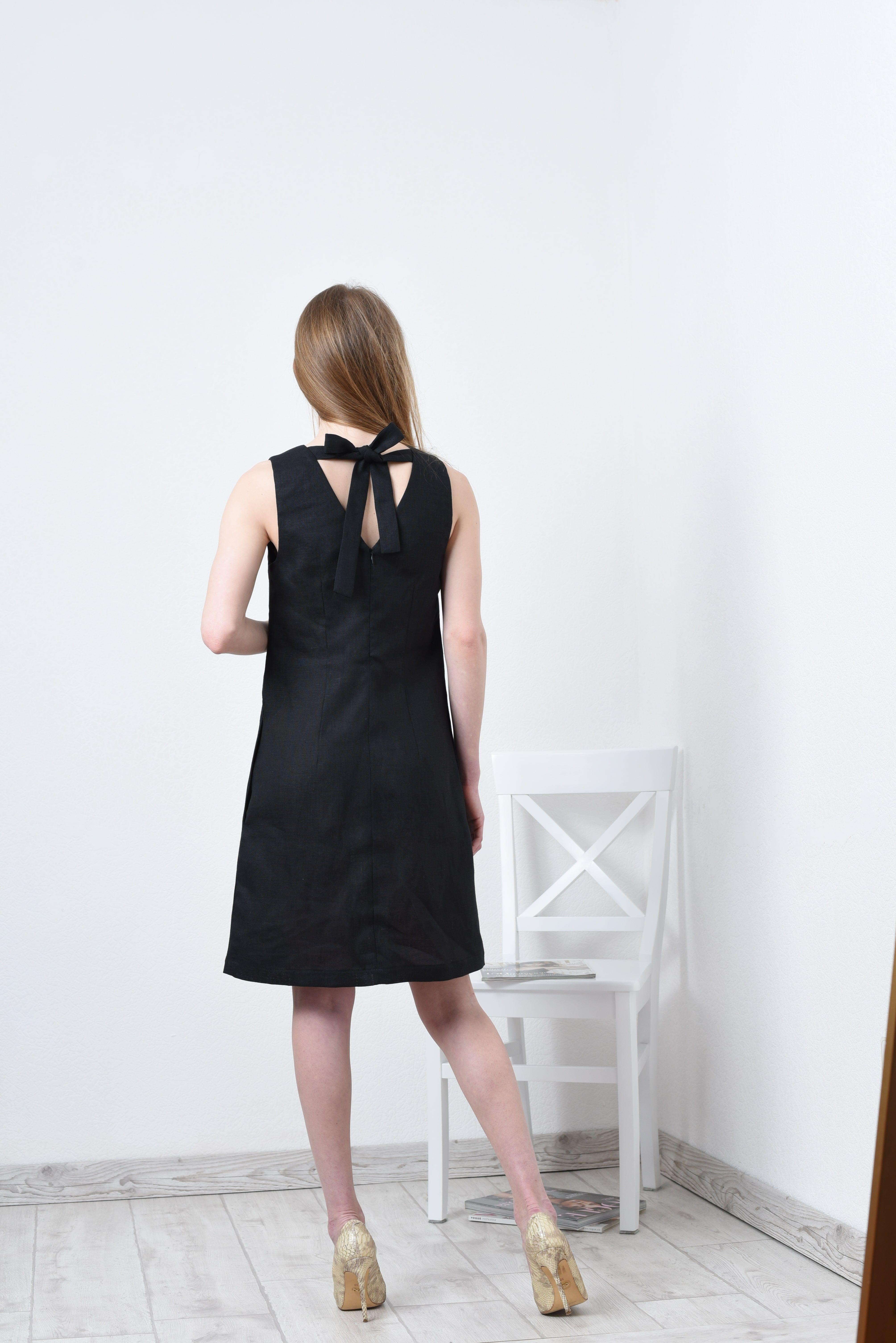 Linen Dress For Women Little Black Linen Dress With Ties Etsy Black Linen Dress Dresses White Linen Pants Women [ 6016 x 4016 Pixel ]