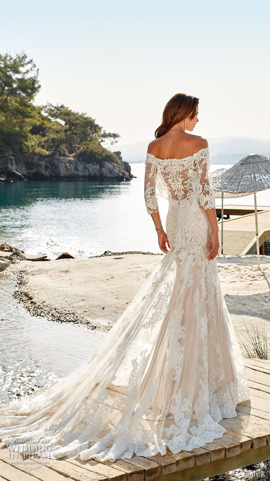 eddy k 2018 bridal three quarter sleeves deep sweetheart ...