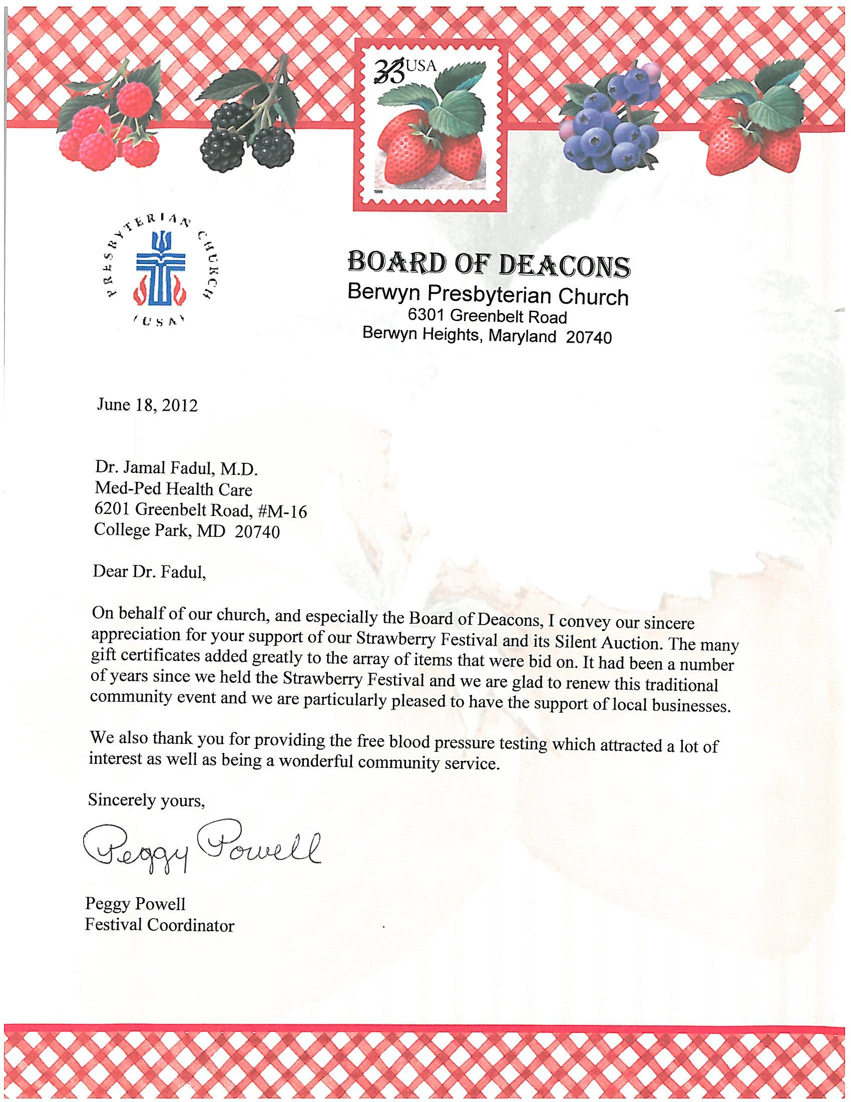 Berwyn prebyterian church appreciation letter for strawberry berwyn prebyterian church appreciation letter for strawberry festival volunteer work that our team did to our thecheapjerseys Images