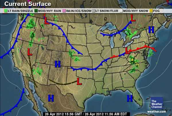 4 26 12 Surface Map Low Pressure That Brought In Rain Yesterday