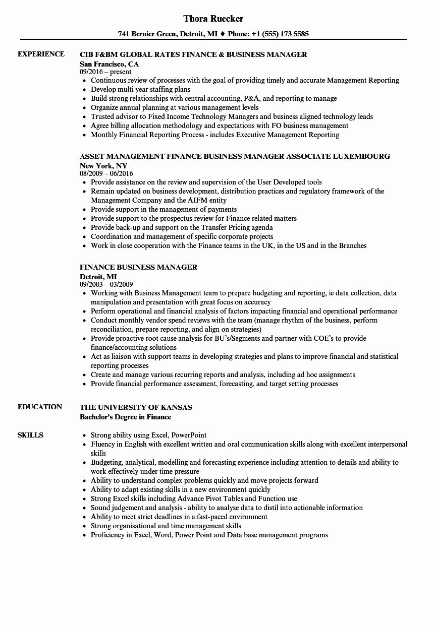 Business Management Resume Examples Luxury Finance