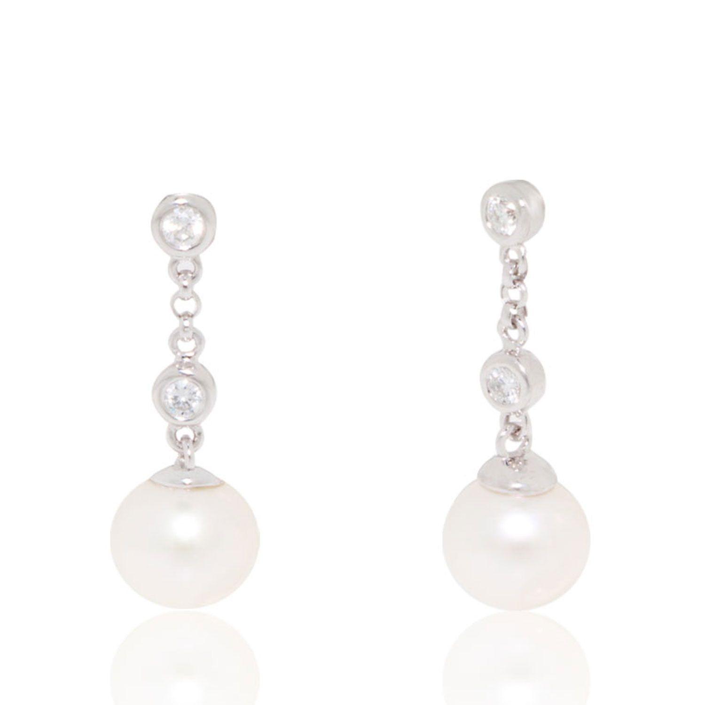 Diamond And Pearl 8mm Drop Earrings