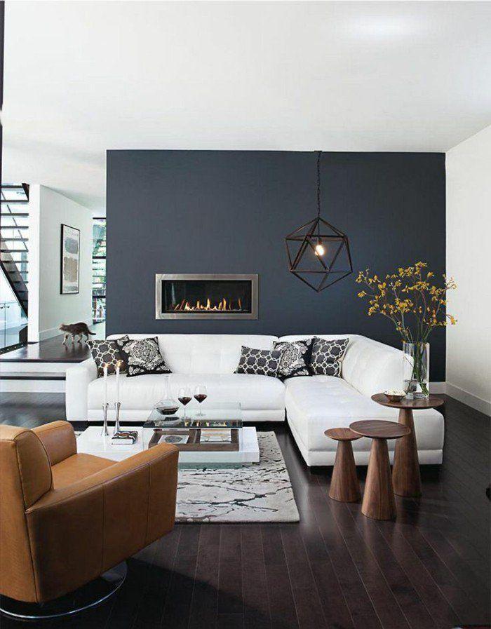 murs de couleur gris anthracite comment bien amenager le salon