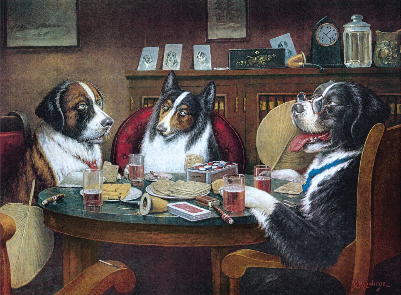 собаки играют в покер картина