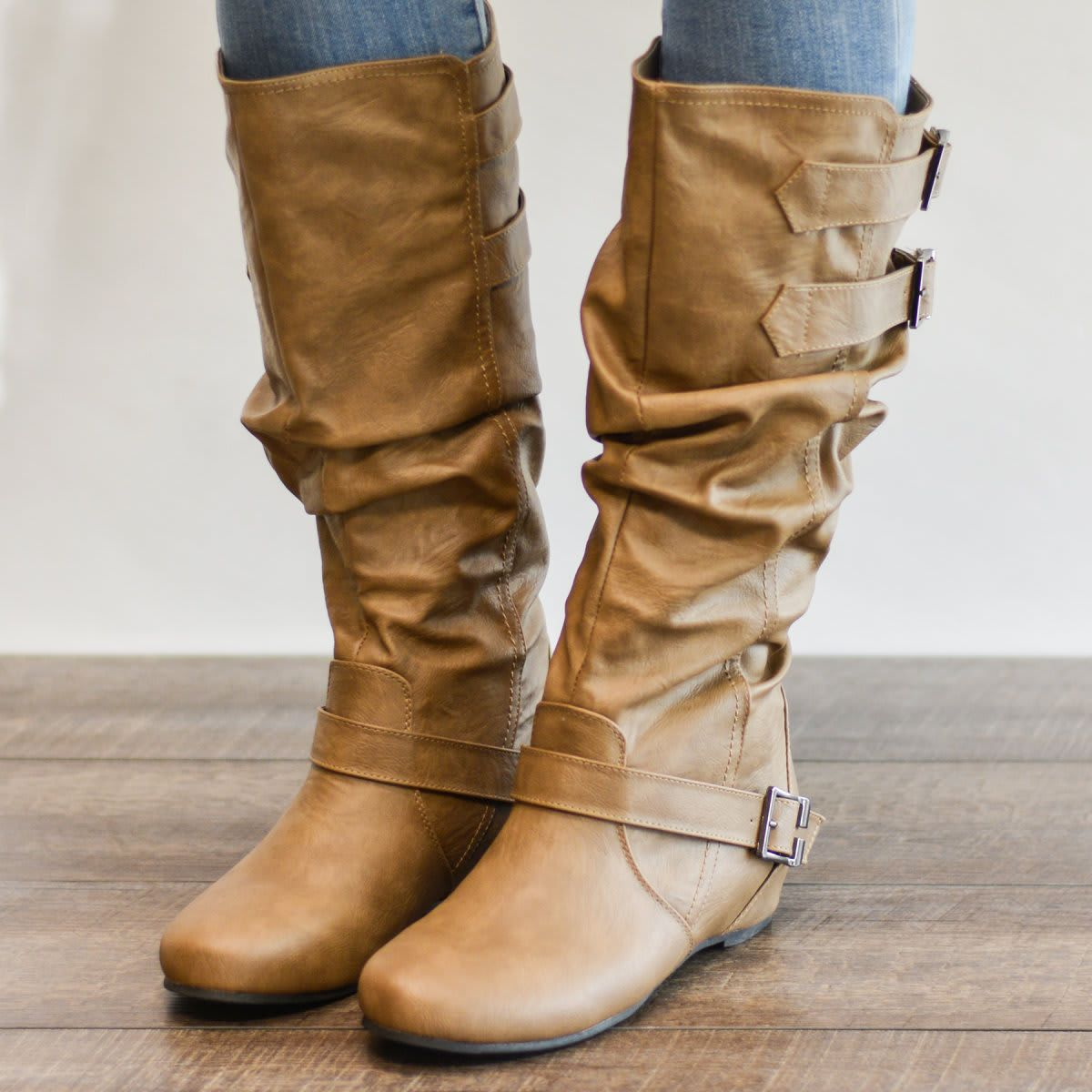 Buckle Slouch Low Wedge Boot Wide Calf Options Calf Boots Wide Calf Boots Mid Calf Boots