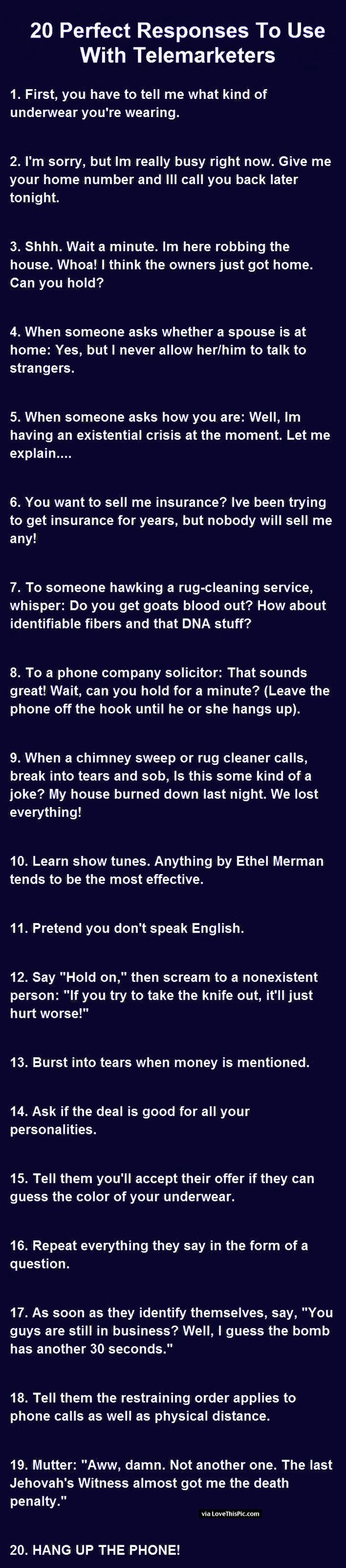 Funny Answers To Phone Calls : funny, answers, phone, calls, Telemarketers, Ideas, Prank, Calls,, Bones, Funny,, Annoying, People, Quotes