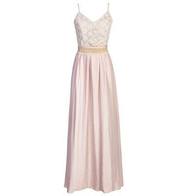 maxi empire waist dress with lace upper slim braces v