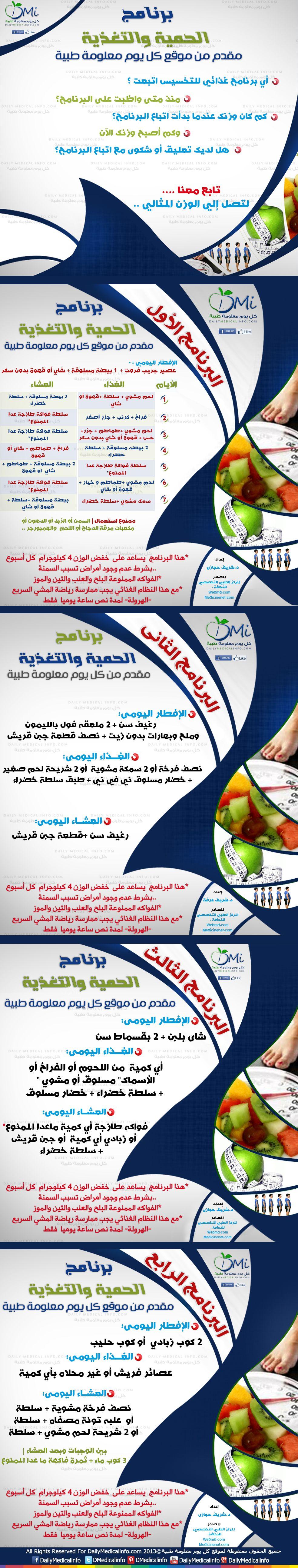 انفوجرافيك برامج الحمية والتغذية لإنقاص الوزن انفوجرافيك طبية كل يوم معلومة طبية Health Fitness Nutrition Healty Diet Health Diet