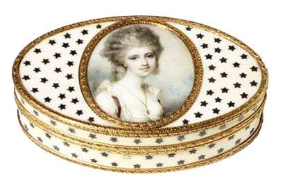 Richard Cosway (1742-1821) Portrait of Mrs Lowther About 1780 Watercolour on ivory Given by Mr W.A.J. Floersheim Museum no. P.101-1931  Here the miniature is set into the lid of an ivory and gold snuff box, under glass. Snuff was powdered tobacco inhaled through the nose. Snuffboxes were very fashionable and often included miniatures. Victoria and Albert Museum, London