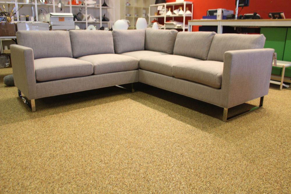 Sectional Sleeper Sofa Reid Sectional Chaise Right Nude Leather Modern Design Within Reach DWR Modern Loveseats and Garden furniture