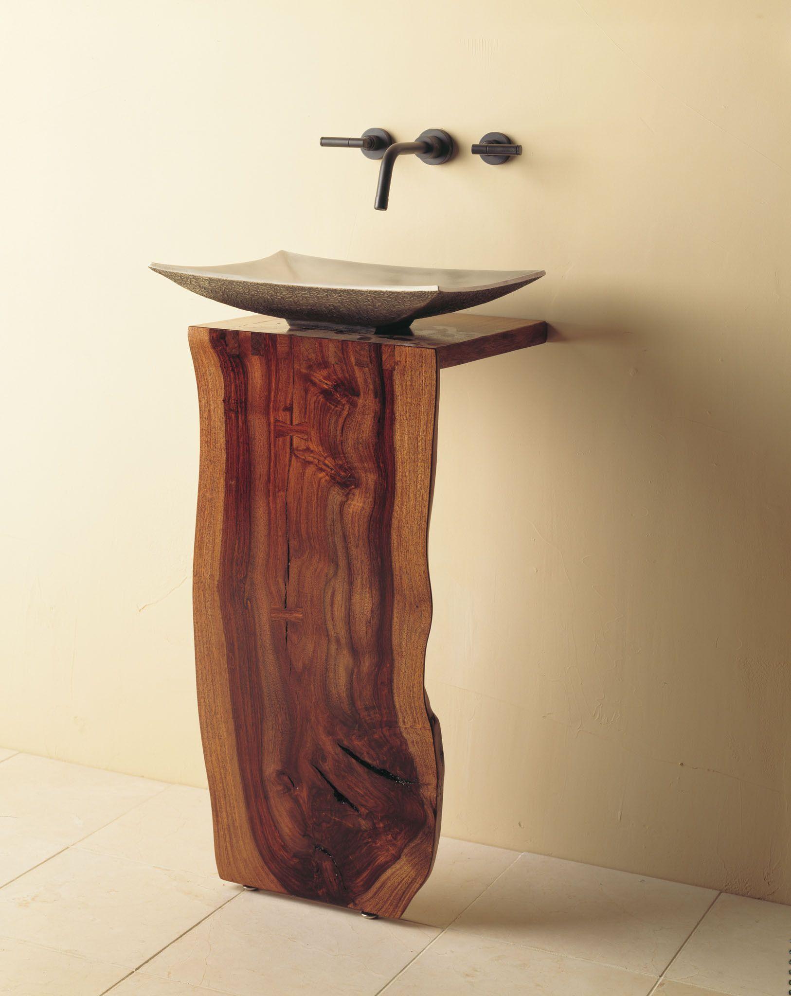 Wood L Slab Pedestal