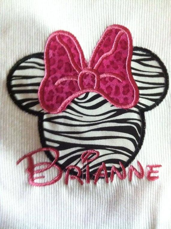 Animal print Minnie applique w/name monogram on solid pink or pink gingham aline dress on Etsy, $38.00