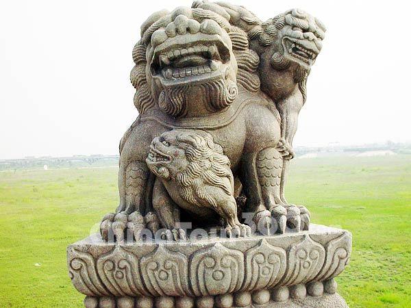 Close up of stone lions in Lugou Bridge, beijing, China