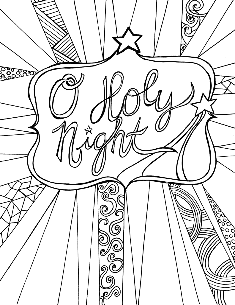 O Holy Night Free Adult Coloring Sheet Printable