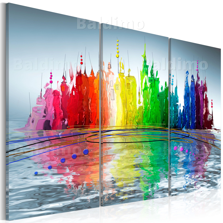 Abstrakt Stadt Bunt Wasser Wandbilder Xxl Bilder Vlies Leinwand 020101 126 Ebay Abstrakt Leinwandbilder Abstrakt Wohnzimmer Bunt