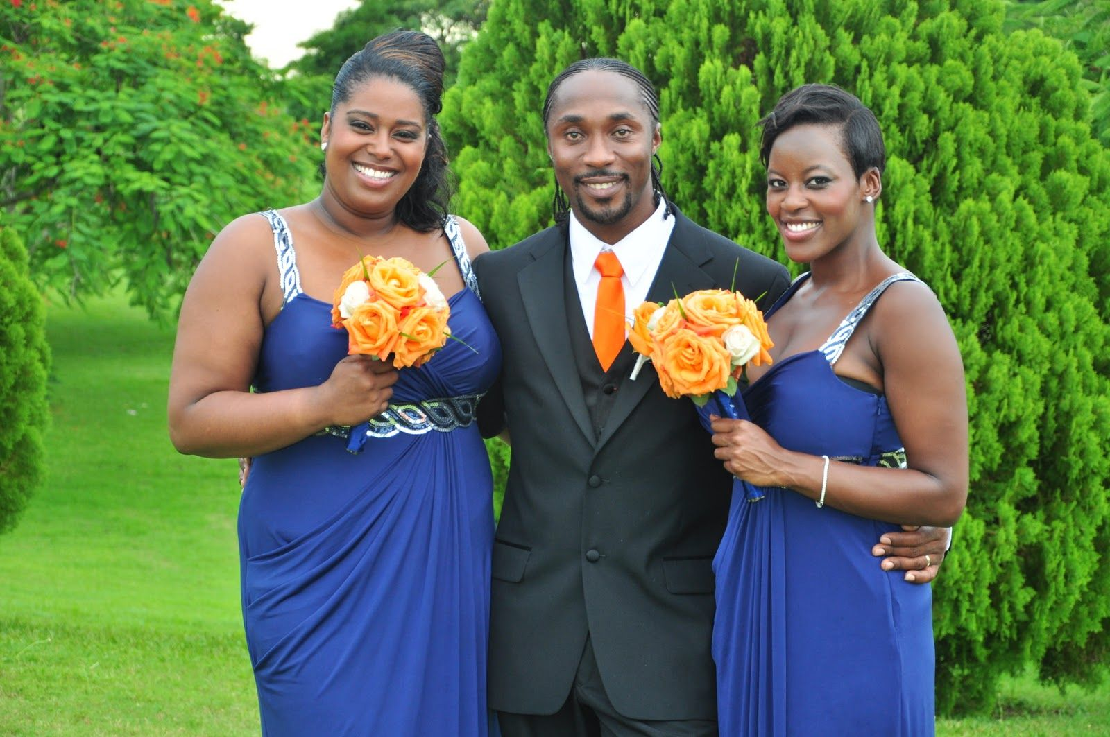 navy and orange bridesmaids with black tuxes   Navy Blue ...