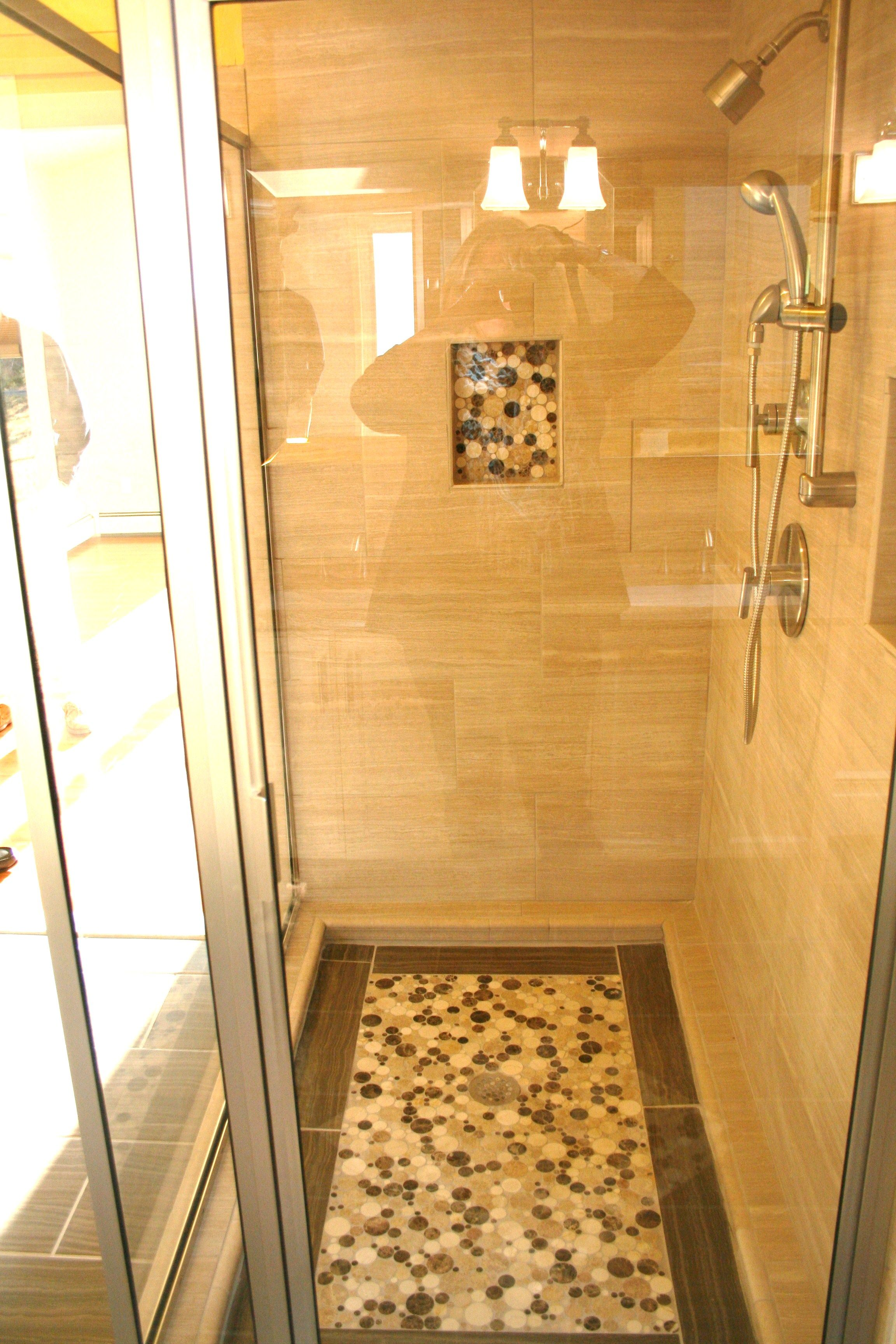 Custom Framed Shower Door with Shower Niche #RhodeIslandbathroom www ...