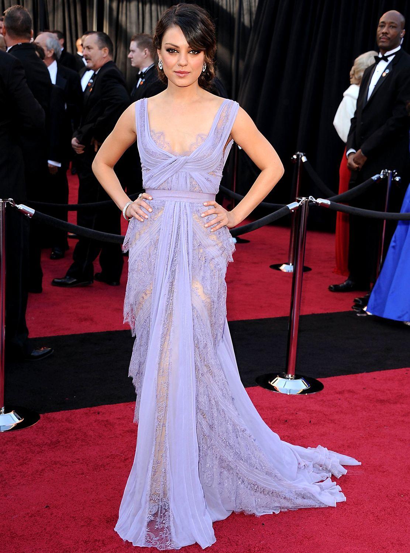 Mila kunis wedding dress  Mila Kunis wearing Ellie Saab at the  Oscars This color is