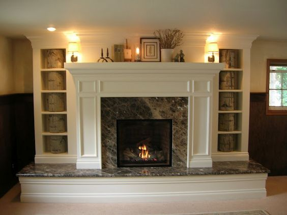 raised hearth fireplace makeover - ugly marble here, but the idea ...