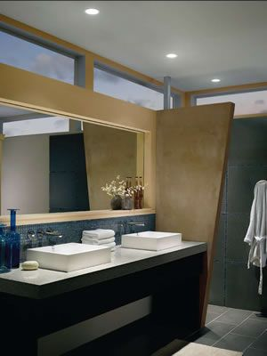 Contemporary Bath With Wac Ledme Downlights Hr Led421 Wt Wt Ledme Downlights Wac Lighting 4 Recesse Dimmable Led Lights Contemporary Bathrooms Downlights