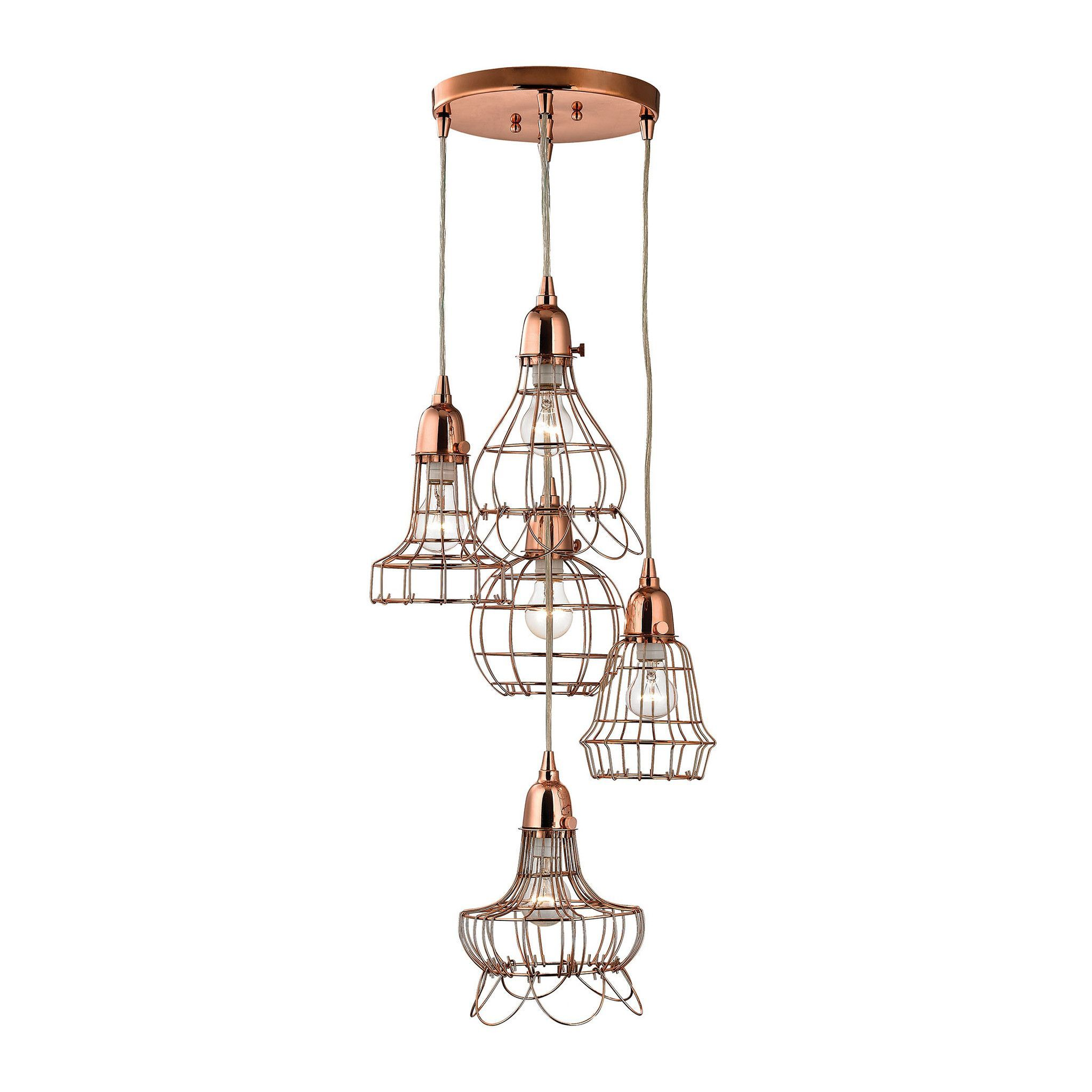copper light geometric wire pendant ceiling