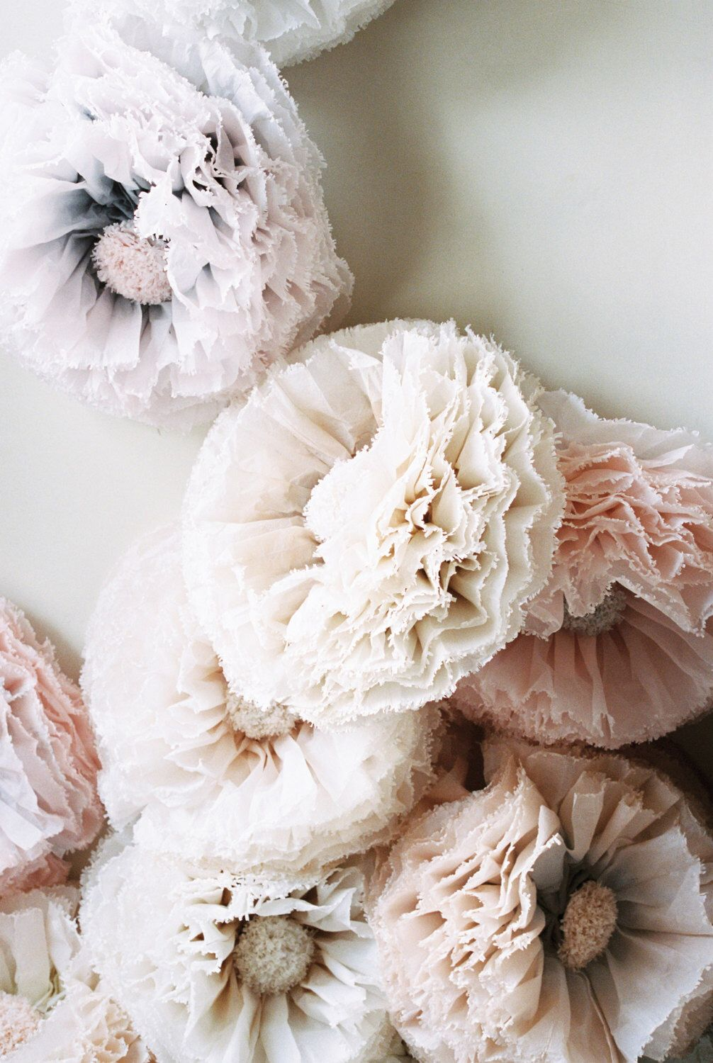 Champagne paper flower, giant hand-dyed peony pom in dove grey ...